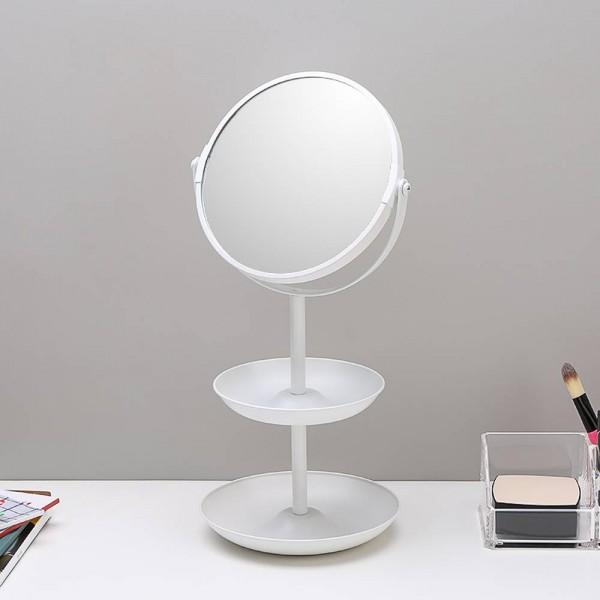 6,5 pulgadas simple espejo de doble cara maquillaje espejo tocador espejo de escritorio de doble capa de almacenamiento espejo decorativo wx8161509