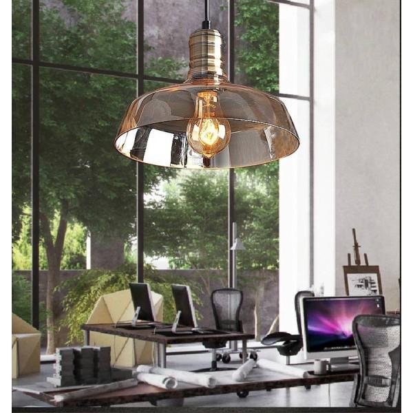 American Countryside Creative Glass Pendant Light claro / color ámbar pantalla de cristal Bar / Restaurante / accesorios de iluminación caseros