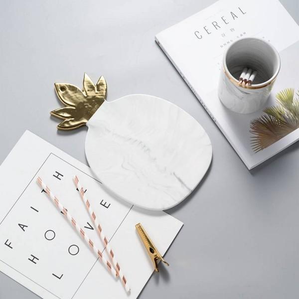 Placa de cerámica textura de mármol piña placas de plato de pan de oro tabla de cortar tabla de queso