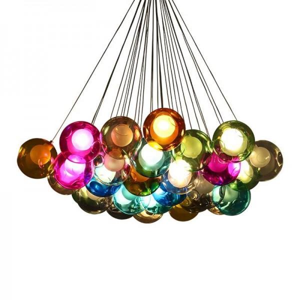 Creative Post Modern LED Colgante Luz hecha a mano colorida burbuja de cristal DIY Cristal de vidrio 10 19 25 cabeza LED Lámpara colgante G4 bombilla