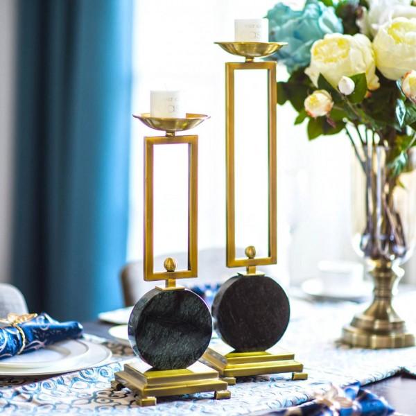 Candelabro de sala modelo esmeralda decoración de mesa decoración candelabro de metal de mármol adorno europeo Candelabros decorativos