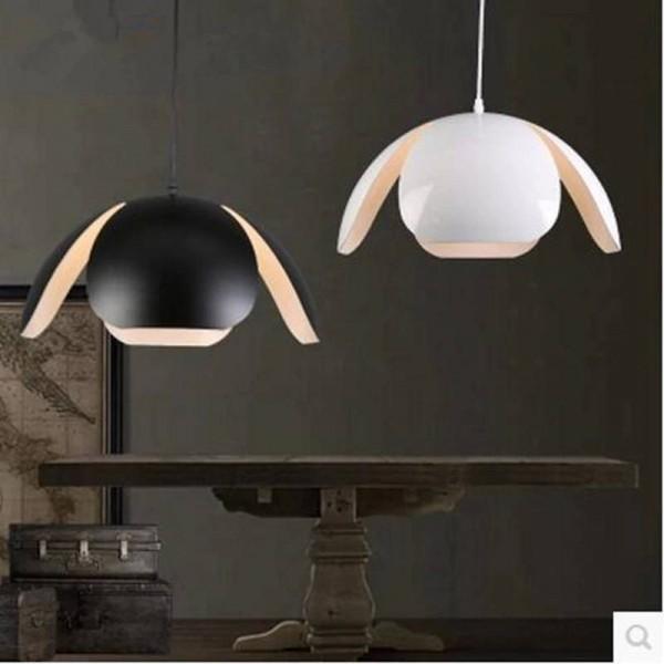 Lámpara colgante de aluminio blanco negro moderno dia 40cm forma de flor lámpara de edison lámpara de café / bar / restaurante art deco lámpara colgante