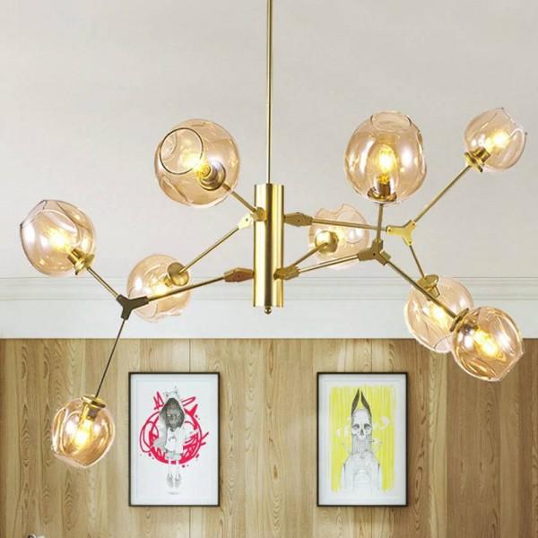 Lámpara colgante de vidrio moderna 9 cabezas de cuerpo de lámpara negro dorado Lámparas colgantes Sala nórdica Comedor Cocina Lámpara de interior