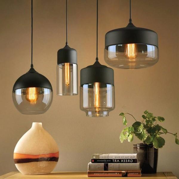 Luces colgantes de cristal modernas lámpara nórdica clara / ámbar de cristal que cuelga la lámpara para el accesorio de iluminación del comedor del café del restaurante