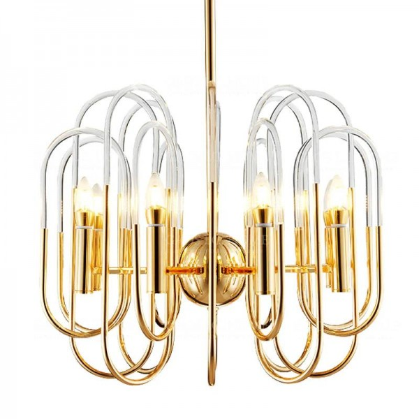 Moderno LED luces de la lámpara de la lámpara de la sala de estar pantalla de acrílico Lámparas de araña iluminación colgante colgante de techo accesorio