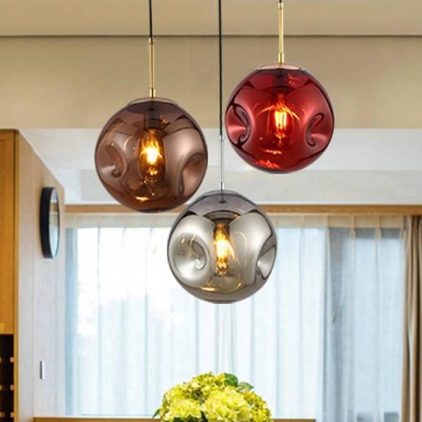 Lámpara de suspensión de cristal de iluminación moderna dia 25 cm oro / plata / luz de suspensión de cristal roja para restaurante cafetería lámpara industrial