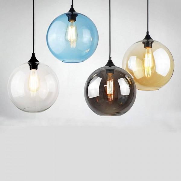 Moderno simple lámpara colgante de cristal nórdico creativo 25 cm colorido bola de cristal salón comedor dormitorio lámpara colgante de luz