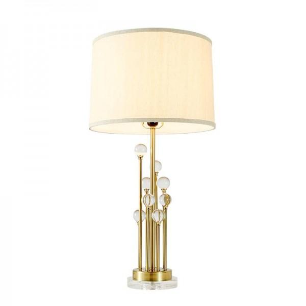 Personalidad moderna moderna lámpara de mesa creativa de cristal vestíbulo dormitorio estilista del norte sala de modelo lámpara de lectura LED de hierro dorado