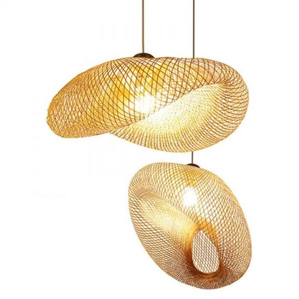 Lámpara colgante hecha a mano de estilo moderno del campo de Asia del sudeste de bambú de la armadura para la iluminación industrial del café del restaurante