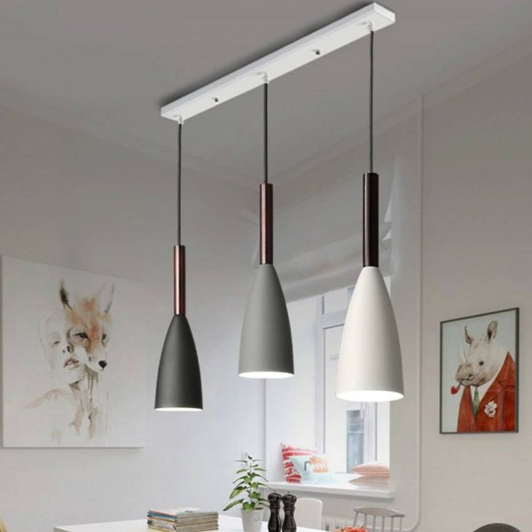 Luminaria colgante nórdica de 3 cabezas Lámpara de techo industrial gris negro blanco con sombra de metal restaurante bar cafe lámpara de techo