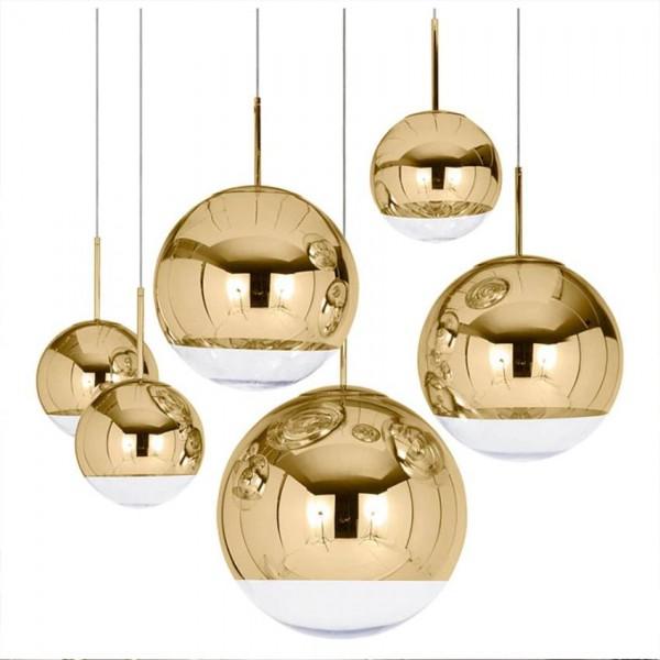 Nordic Mirror glass pendant light dia 15-40cm plateado Oro Plata pantalla moderna lámpara colgante para comedor Accesorios de iluminación de cocina