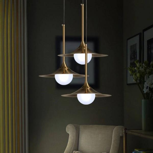 Lámpara colgante moderna nórdica para sala de estar dormitorio Pantalla de lámpara de hierro de cobre plateado creativo restaurante cafe bar luz colgante