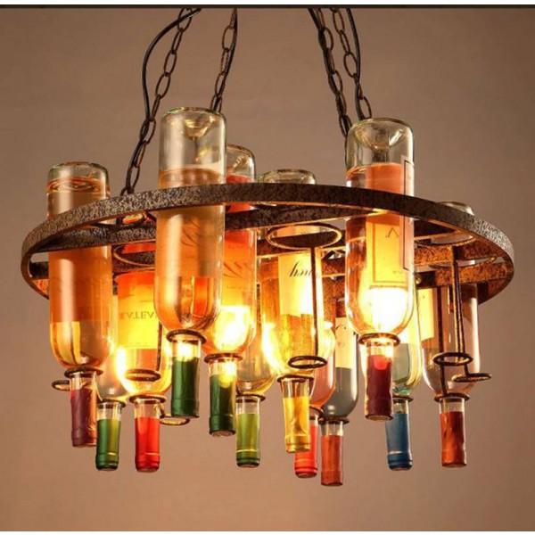 Botella de vino nórdico lámpara de araña retro iluminación 60 * 32 cm cadena de botella de vidrio lámpara colgante bar restaurante cafetería tienda deco lámpara