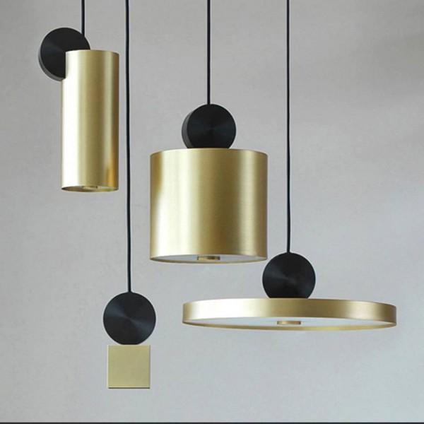Luz colgante creativa posmoderna 4 estilos chapado en oro nórdico salón comedor pasillo restaurante iluminación de lámpara colgante Luminaria