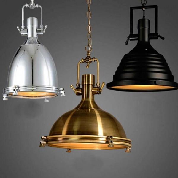 Lámparas colgantes para iluminación industrial Lámparas colgantes de metal negro bronce cromado Restaurante bar luminaria de suspensión de café