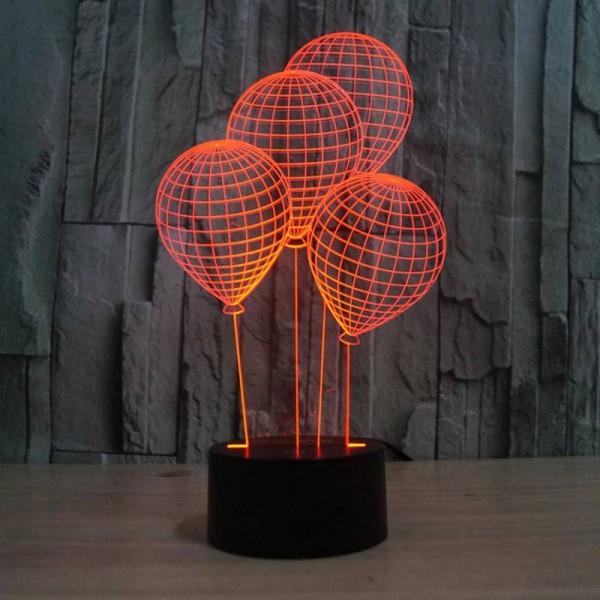 La luz de noche 3D con forma de globo con interruptor táctil LED acrílico 7 colores lámpara de ilusión 3D de cambio automático para lámpara de mesa deco de vacaciones