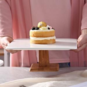 10 '' Soporte de pastel de cerámica cuadrado Compota de madera de porcelana decorativa Bandeja de servicio Vajilla para pudín Pastel de gasa Muffin Tiramisú
