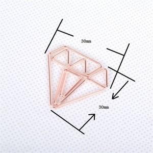 10 pcs Nordic Office Plating Diamond Clip de almacenamiento Chic Ins de hierro forjado Gold Mini Document Bookmark Clip de sellado Clip de almacenamiento