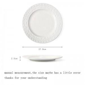11 pulgadas estilo europeo placa de cerámica en relieve decoración plato vajilla vajilla filete de espagueti plato plato platillo