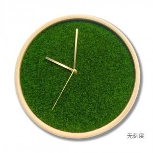 12 pulgadas Sala de estar reloj de madera maciza Hogar Moderno Dormitorio Reloj Mute Simulación césped planta verde creativo reloj de pared puntero de latón