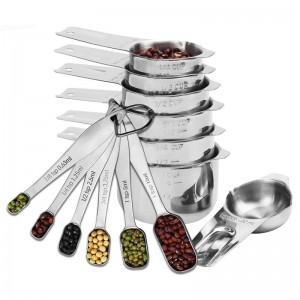 Juego de 13 tazas y cucharas de medición de acero inoxidable para hornear en la cocina Herramientas de medición de café de azúcar