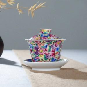 160 ml pintado a mano exquisito color de esmalte patrón de flores Gaiwan Tetera Tapa Saucer Kit Home Drinkware para regalo de boda