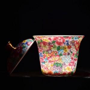 175 ml pintado a mano esmalte de color Gaiwan de cerámica porcelana Drinkware Oficina Kung Fu juego de té Cuenco de té con tapa Kit regalos
