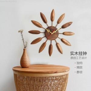 Reloj de pared de madera maciza de 17 pulgadas Reloj de pared de sala de estar Mesa de diseño moderno Dormitorio Creativo Hogar Mudo Decoración de granja