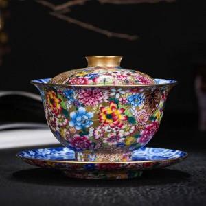 180 ml Gaiwan pintado a mano esmalte Noble tazón de cerámica de porcelana Drinkware Teaware colección de decoración del hogar regalos