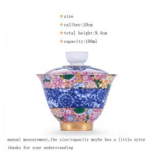 180ml Porcelana Plata Gaiwan Oficina Ceremonia del té Master Cha Bowls Tapa Platillo Patrón de esmalte pintado a mano Drinkware