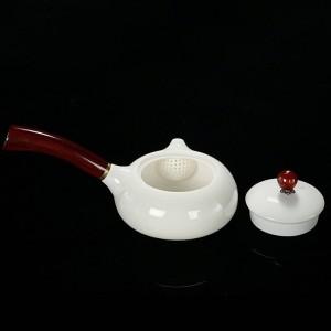 180 ml Noble Tetera Cerámica Jade Porcelana Mango de madera Olla Exquisita Cafetera Leche Kung Fu Juego de té Drinkware Decoración