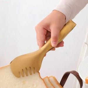1 Unidades de Acero Inoxidable Food Tong de Múltiples funciones que Sirve Utensilios de Pan Ensalada Filete de Bbq Clip Herramientas de Cocina Accesorios de Cocina