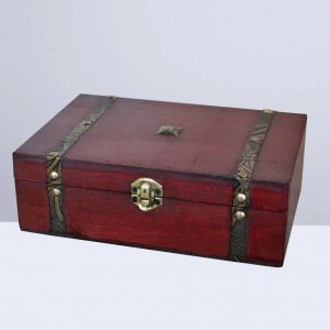 1 unid Caja de joyería vintage Caja de regalo de madera retro Caja de tesoro de madera Joyero de madera sin cerradura