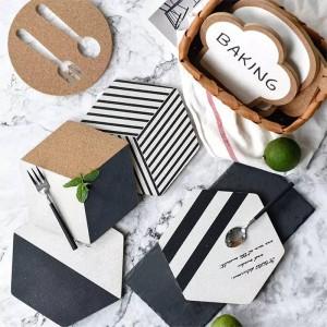 1 UNIDS Diseño Original Serie Hexagonal Geometría Cork Pad Pad Modern Nordic Wind Blanco y Negro Cork Pad Mats Anti Hot Plate Pad