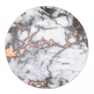 1PCS Vajilla Platos de mármol Juego de cena de cerámica Incrustación de oro Plato de postre de porcelana Ensalada de filete Platos para pastel