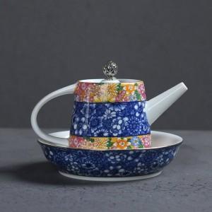200 ML Pintado A Mano Esmalte de Color de Cerámica Porcelana Inicio Cafetera Tetera Juego de Tetera Pu'er Taza de Té Platillo Tapa