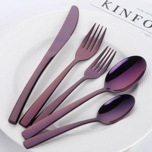 20 piezas de lujo azul cubiertos conjunto de vajilla de acero inoxidable negro restaurante cubiertos cubiertos cuchillo tenedor conjunto vajilla occidental