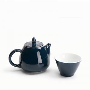 220ML Estilo Azul Cerámica Porcelana Borde dorado Tapa Tetera Kung Fu Juego de té Filtro Café Leche Olla Hervidor de agua Vajilla