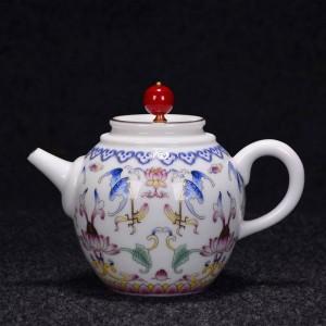 250 / 270ml Tetera de color de esmalte pintado a mano Vajilla de porcelana de cerámica hecha a mano Ceremonia del té Hervidor enviado Regalo de amigos