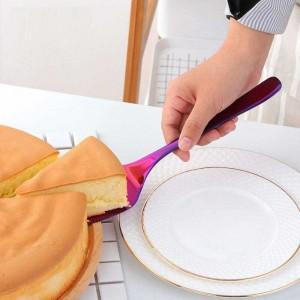 Cortador de cuchillas de servidor de borde dentado de acero inoxidable de 2 piezas con cuchillo de pastel, pizza, pala, pala, cocina, repostería, repostería, espátulas