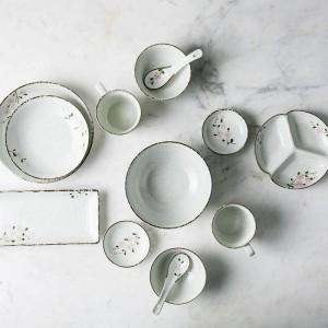 Sets de vajilla de cerámica para 2 personas / 6 personas Cuencos de cerámica diseñados con flor japonesa Plato largo de porcelana para tazón grande Big Bowl
