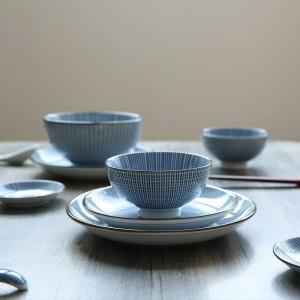 Juego de cena para 2 personas Juego de vajilla de cerámica de estilo japonés Color sólido debajo de las placas de vidrio 12 cabezas