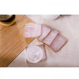 2pcs / pack Posavasos de posavasos de ágata rosada Posavasos de bebida Copa Mat