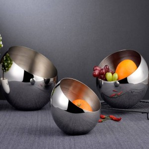 Tazón oblicuo de acero inoxidable de plata 304 Tanque de condimento para bufé Caja de encimera esférica fruteros Plato de merienda de fruta seca