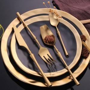 Juego de cubiertos de acero inoxidable 304 Juego de vajilla de oro Juego de cubiertos de vajilla de comida occidental Servicio de vajilla Regalo de Navidad Envío de la gota