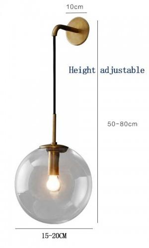 Nordic Modern LED - Lámpara de pared gris / vidrio transparente Pantalla de bola Baño Espejo dormitorio Junto a la pared Aplique Iluminación para el hogar