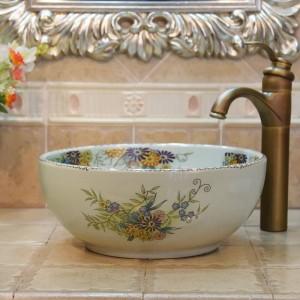 35cm mini grieta flor y pájaro lavabo hecho a mano lavabo artístico baño lavabo de cerámica lavabo pequeño