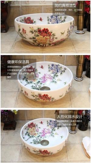 Lavabo de flores de peonía blanca de 35 cm Lavabo de lavabo hecho a mano Lavabo artístico de baño Lavabo sobre encimera de cerámica Lavabos