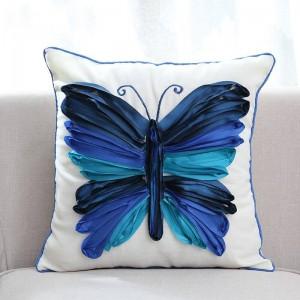 Funda de cojín decorativa con bordado de mariposa 3D Funda de almohada de lujo de alta gama para ropa de cama Sofá almofadas decorativas