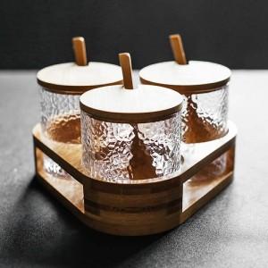 Juego de 3 piezas de tarro de vidrio para sazonar con forma de martillo Juego de caja de condimentos Especias y pimentero Azúcar sal chile olla utensilios de cocina
